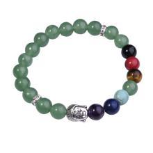 7 perles de pierre gemme de chakra bouddhisme & Bouddha alliage Bracelet en Aventurine