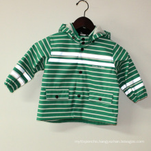 Green Stripe Reflective PU Rain Jacket/Raincoat