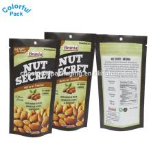 Stand up maßgeschneiderte Folienbeutel Snack-Food-Verpackung Taschen Kunststoff Cashewnuss Milch Verpackung Tasche mit Reißverschluss