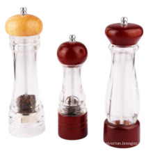 Round Spice Mill Glass Bottle with Grinder Lid
