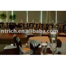 Couverture de chaise de satin, couverture de chaise d'hôtel/mariage, ceinture en satin
