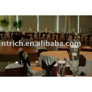 Tampa da cadeira do cetim, capa de cadeira hotel/casamento, faixa de cetim