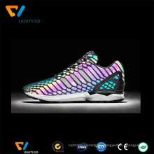 Großhandel auffällig Nähen reflektierenden Regenbogen farbigen Schuhe Material