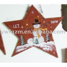 Decoração pendurada de madeira da estrela do Natal