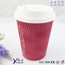 250ml Wave Insulated Triple Kraft Hot Coffee Paper Cups