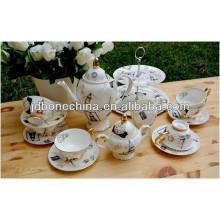 Regalo de la taza de café de cerámica de la porcelana de la porcelana china de hueso real hermosa del estilo mediterráneo bohemio