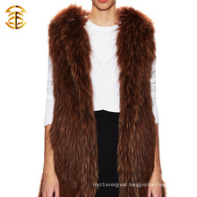 Wholesale Fashion Animal Knitted Raccoon Fur Vest And Fur Trim