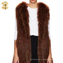 Оптовый модный животный трикотажный жилет из енота и меховой одежды