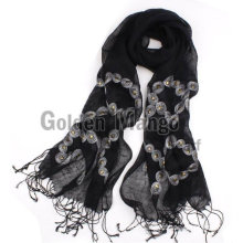 fashion spring and summer linen scarf with embroidery
