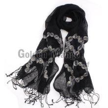 Модный весенний и летний льняной шарф с вышивкой