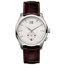 Reloj de acero inoxidable para hombres en movimiento de cuarzo japonés, correa de cuero genuino, hebilla de mariposa