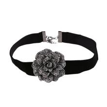 Punk Vintage Flower Charm Black Velvet Sexy Lace Choker