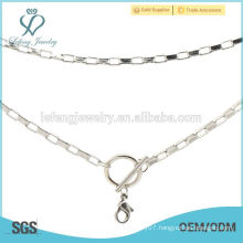 Fancy long thin silver chain necklace designs,cheap custom name design necklace