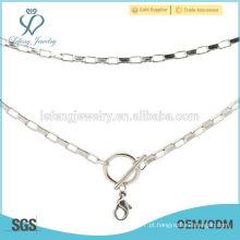 Fantasia longa fina prata colar de corrente desenhos, colar design personalizado barato nome