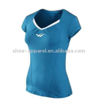 camisas azuis do tênis do feltro de lubrificação do suor para as mulheres por atacado
