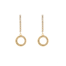 E-665 xuping simple stainless steel 24k gold color circle design rhinestone drop earrings