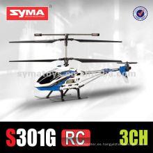 SYMA S301G marco de la aleación de 3.5 canales en tamaño mediano con la cabeza de color diferente cubierta de RC helicóptero