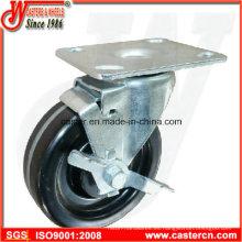 Rueda giratoria Phenolic de alta temperatura con freno lateral