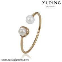 51775 projetos de pulseira de ouro Xuping vogue, elegante dois bracelete de pérola cuff