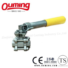 3PC Stainless Steel Threaded Ball Valve with Spring Handle