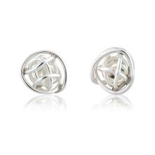 Brincos de pergaminho de prata da Esfera encadernada para mulheres