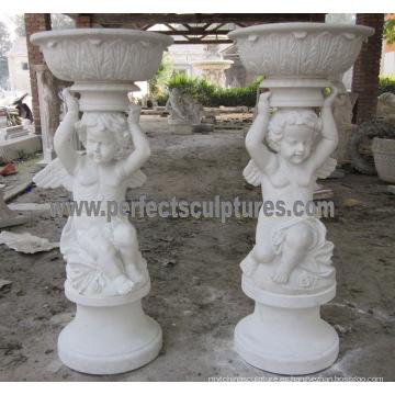 Pote de flor tallada de la piedra para la escultura del jardín (QFP323)