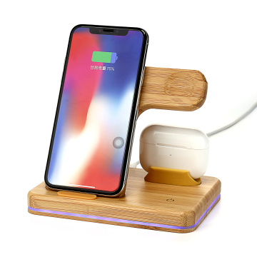 New products 3 in 1 Smart Portable Qi Phone Holder Watch Fast Wireless Charging Station 15W fastest wireless bamboo charger