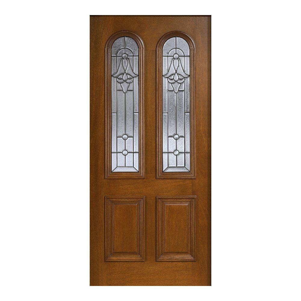 Patina Twin Arch Glass Solid Wood Front Door Slab