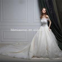 Реальный образец одно слово плечо кружева Гуанчжоу свадебное платье с длинным хвостом
