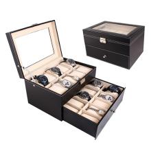 Grand cas de montre de boîte d'affichage en cuir de 20 fentes (HX-A0753)