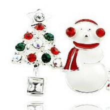 Joyería navideña / Pendiente navideño / Navidad muñeco de nieve (XER13366)