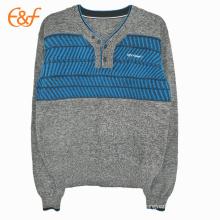 V-Neck Men's Modern Shrug Pullover Sweater With Knitting Pattern