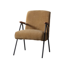 Home Living Room Wooden Arm Corduroy Fabric Leisure Chair with Metal Leg