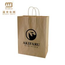 Китай Таможня Напечатала Рециркулированный Одежда Магазины Крафт-Коричневый Бумажный Мешок С Ручкой