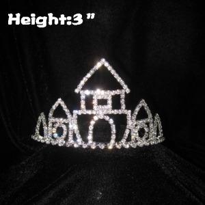 Coronas de cristal de princesa Castle de 3 pulgadas con peines