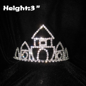 3in coroas de cristal da princesa castelo com pentes