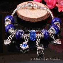 Bunte Kristall Herz Charm Murano Glas Perlen passen europäischen Charme Armbänder für Frauen