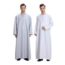 Venda quente modelos abaya dubai cor pura mangas compridas homens muçulmanos abaya dress