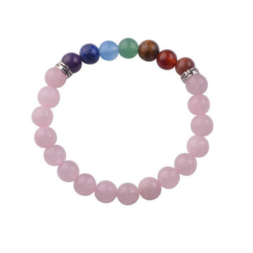 Natural Rose Quartz Beads Bracelet Chakra 8MM Fashion Bangle Jewelry