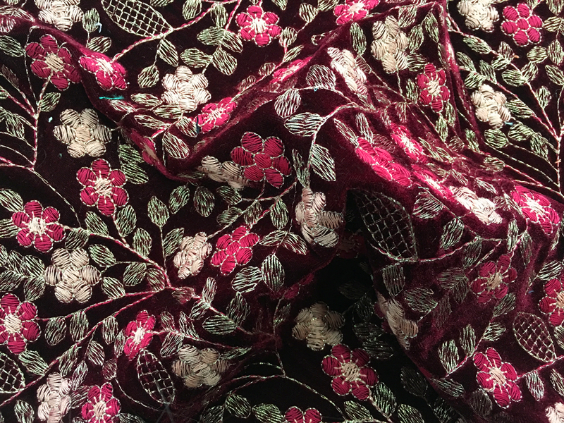 Multicolor Flower Velvet Embroidery Fabric
