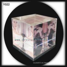 Marco de fotos de cubo de cristal de color 3D