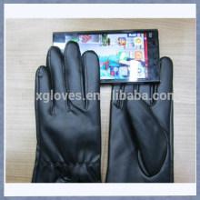 Перчатка кожаная касания Черная кожаная перчатка сенсорного экрана для Ipad