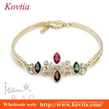 fashion italina jewelry multi colored crystal indian gold plated bangle