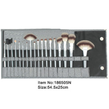 18pcs silver plastic handle makeup brush tool set with printed satin folder
