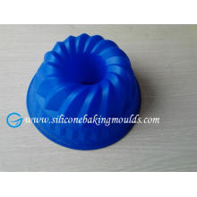 9 In Round Reusable Silicone Cake Mould , Blue Recycled Cake Pan Fda