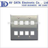 2-Gang Stainless Steel Keystone Wall Plate with 8 Port