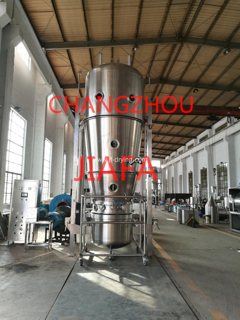 Fluid bed bottom spray coating machine