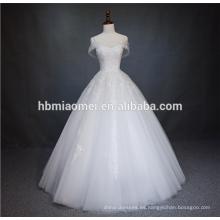 Nupcial una línea de piso de longitud con cordones Corsé de organza vestido de bola sin tirantes apliques de encaje y vestido de novia de gasa