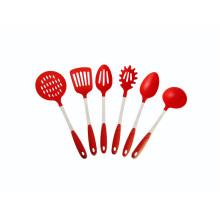 Herramientas de cocina de cocina de color rojo de nylon 6pcs