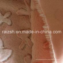 100% poliéster de flores de corte de terciopelo rosa Tela de vellón PV